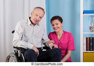 mand disabled, og, sygeplejerske, ind, en, hospice