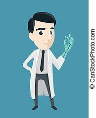 mand, doktor, kunstige, illustration, hånd