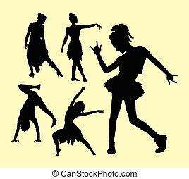 mand, donne, atteggiarsi, silhouette, ballo