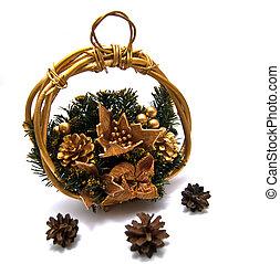 mand, drie, cristmas, pinecones