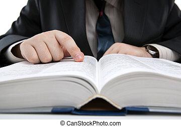 mand, er, kigge i, information, ind, den, leksikon