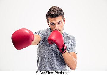 mand, finder, kamera, ind, boksning handske