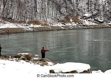 mand fiske, ind, niagara