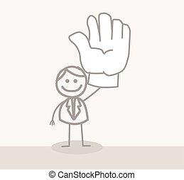 mand, frivillig, hånd, firma