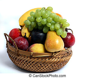 mand, fruit, zijaanzicht