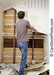mand, gør, renovation, arbejde, til, hus