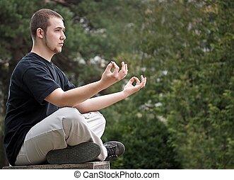 mand, gør, yoga
