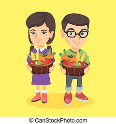 mand, geitjes, vegetables., fruit, vasthouden