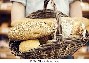 mand, gevulde, broodbakken