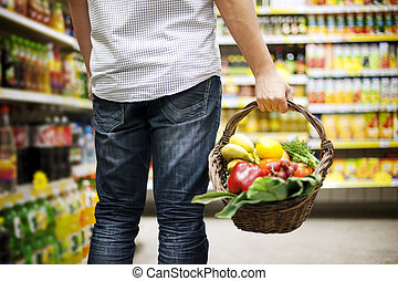 mand, gezond voedsel, gevulde