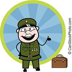 mand, glade, cartoon, aflægger, militær