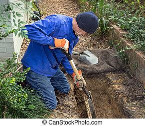 mand, grave, trench, til, erstat, kanalen, beklæde, rør, og,...