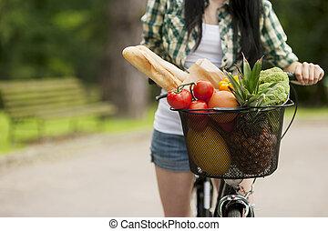 mand, groentes, gevulde, vruchten