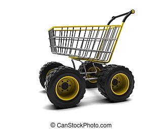 mand, grote wielen, shoppen