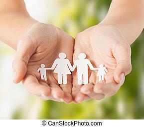 mand, hænder, avis, familie, womans