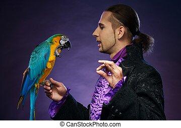 mand, hans, papegøje, unge, brunette, kostume, trained,...