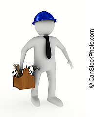 mand, hos, af træ, toolbox., isoleret, 3, image