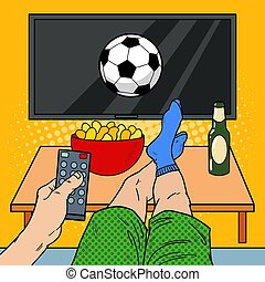 mand, hos, afsides kontroller, iagttag, fodbold, på, television, ind, kald, room., knald kunst, vektor, illustration