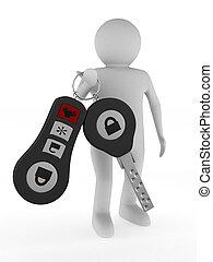 mand, hos, automobil, keys., isoleret, 3, image
