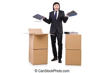 mand, hos, bokse, fulde, i, arbejde
