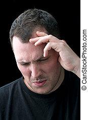 mand, hos, hovedpine, eller, migræne, smerte