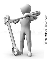 mand, hos, tools., opretholdelsen