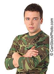 mand, ind, camouflage, hos, krydse hænder