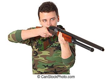mand, ind, camouflage, sigter, af, geværet