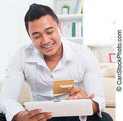 mand, indkøb, asiat, online