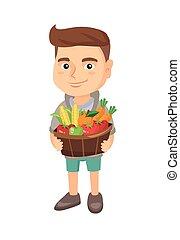 mand, jongen, fruit, vegetables., vasthouden