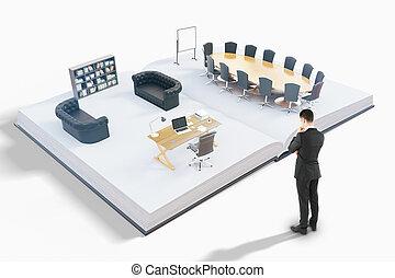 mand, kigge hos, kontor