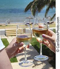 mand kvinde, clanging, vin glas