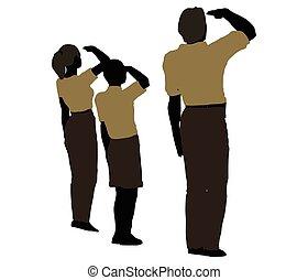 mand, kvinde, og, en, barn, silhuet, ind, militær, hilsenen, positur
