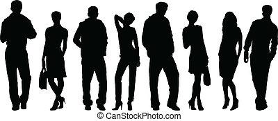 mand, kvinder, samling, mode