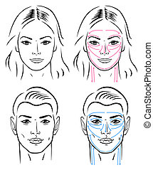 mand, linjer, facial, massaging
