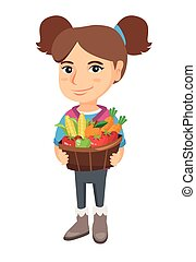 mand, meisje, fruit, vegetables., vasthouden