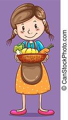 mand, meisje, groentes, vasthouden