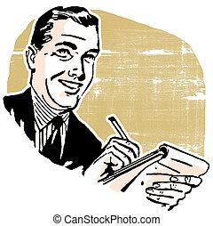 mand, notesbog, firma, skrift