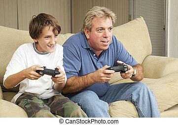 mand, og, dreng, spill, boldspil video