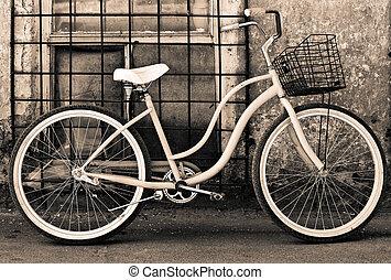 mand, ouderwetse , fiets