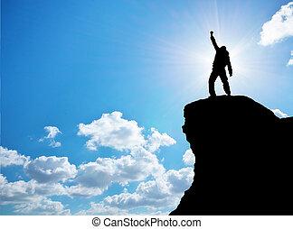 mand, på top af, bjerg