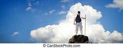 mand, på top af, mountain.