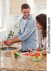 mand, pæn, hans, madlavning, girlfriend