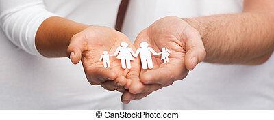 mand, par, avis, familie, hænder