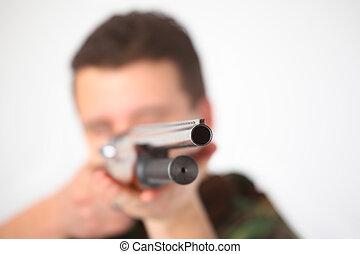 mand, peg, af, geværet