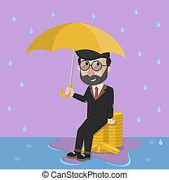 mand penge, regn, firma, proble