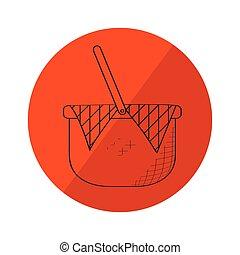 mand, schets, picknick, etiket