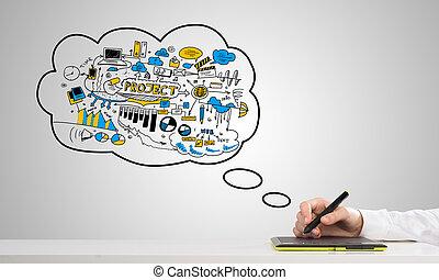 mand, sketching, firma, ideer