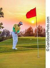mand, spille golf, imod, farverig, solnedgang
