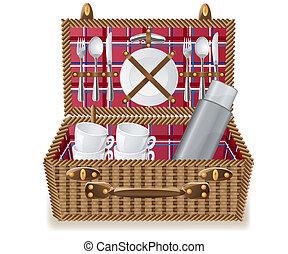 mand, tableware, picknick